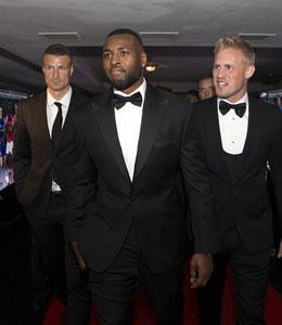 """Robert Huth, Wes Morgan und Kasper Schmeichel (v.l.) bei der Gala zu """"Englands Fu�baller des Jahres"""""""