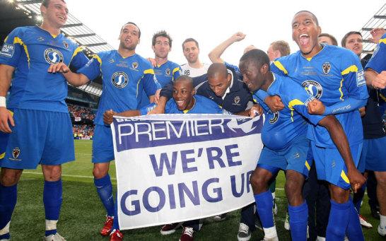 AFC-Spieler feiern den Aufstieg