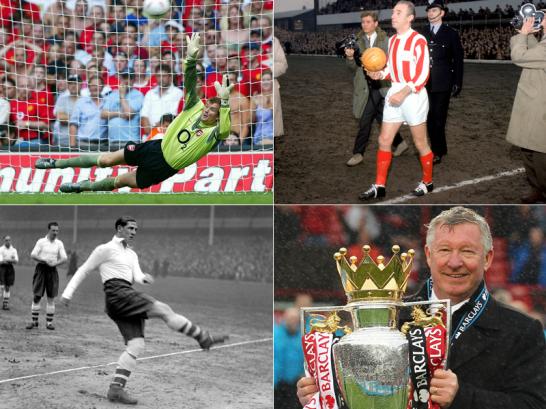 Jens Lehmann, Sir Stanley Matthews, Ted Drake und Sir Alex Ferguson