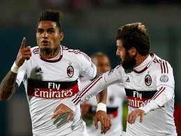 Milans Boateng bejubelt in Catania seinen Treffer zum 2:1.