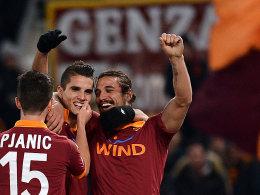 Aller Grund zum Jubeln: der AS Rom traf vier Mal gegen den AC Mailand.