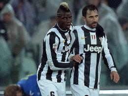 Juventus jubelte gegen Udine dank Pogba (li.) und Vucinic..
