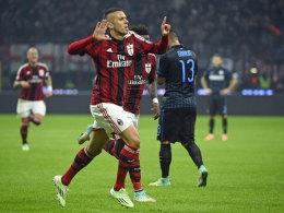 Traf sehenswert für den AC Mailand im Derby gegen Inter - doch das reichte nur zu einem Punkt: Jeremy Menez.