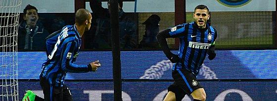 Der entscheidende Mann: Mauro Icardi (re.) bescherte Inter den ersehnten Sieg.