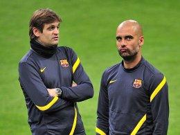 Vorgänger und Nachfolger: Guardiola und sein bisheriger Assistent Tito Vilanova (li.).