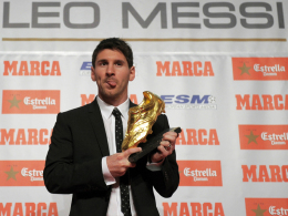 Europas bester Torschütze 2011/12: Barcelonas Superstar Lionel Messi mit dem Goldenen Schuh.