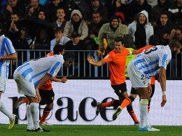Xabi Prieto feiert den Siegtreffer für Real Sociedad beim FC Malaga.