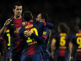 Die drei Torschützen des FC Barcelona beim 4:1 gegen Atletico: Busquets, Messi und Adriano