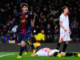 Lionel Messi freut sich über seinen Treffer zum 2:1 über Sevilla.
