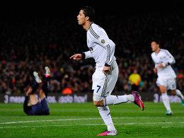 Obenauf: Cristiano Ronaldo traf doppelt gegen Barcelona.