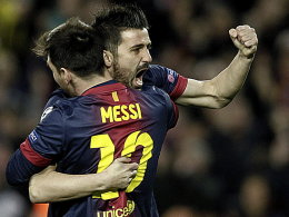 David Villa und Lionel Messi