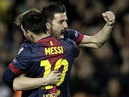 David Villa und Lionel Messi