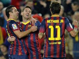 Xavi, Messi und Neymar