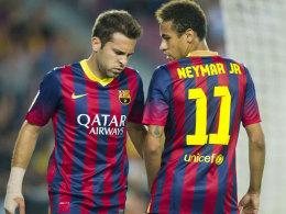 Fallen beide jeweils rund vier Wochen aus: Jordi Alba (li.) und Neymar.