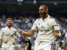 Real Madrids Stürmer Karim Benzema jubelt gegen Cordoba