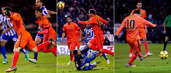 Kopfball, Lupfer, wuchtiger Schuss: Lionel Messi zeigte beim Dreierpack in La Coruña sein ganzes Repertoire auf.