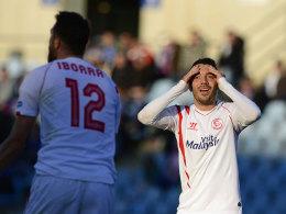 Iago Aspas (re.) kann es nicht fassen: Vicente Iborra vergab erneut eine gute Chance - am Ende unterlag Sevilla in Getafe.