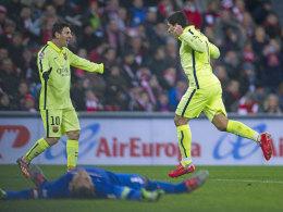 """Lionel Messi und Luis Suarez sind obenauf - Bilbao-Keeper Gorka Iraizoz ist wahrlich """"geplättet""""."""
