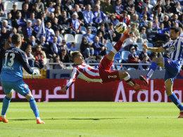 Artistisches Traumtor: Antoine Griezmann netzte per Fallrückzieher zum 1:0 für Atletico ein.