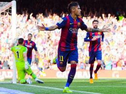 Überwand den starken Rulli per Kopfball: Barcelonas Flügeldribbler Neymar.