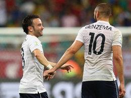 Sein Name fällt im Zusammenhang mit dem mutmaßlichen Erpressungsversuch an Mathieu Valbuena (li.): Karim Benzema.