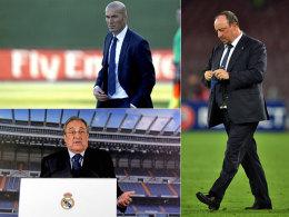 Dreht am Trainer-Karussell: Real-Präsident Florentino Perez (unten) lässt Rafa Benitez (r.) ziehen - und holt Zinedine Zidane.