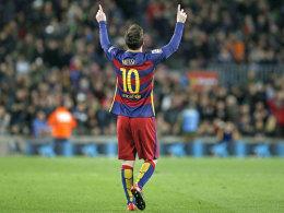Drehte das Stadtduell in Barcelona mit zwei Toren: Barças Lionel Messi.
