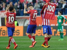 Endlich! Atletico-Stürmer Fernando Torres (re.) durfte gegen Eibar sein Torjubiläum feiern.