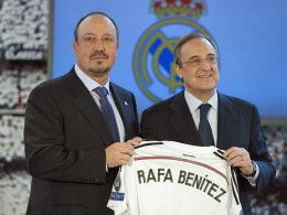 Verschiedene Blickwinkel: Rafael Benitez und Real-Präsident Florentino Perez.
