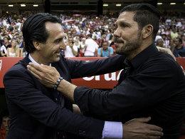 Gibt's im Sommer einen Stabwechsel auf dem Atletico-Posten? Diego Simeone und Unai Emery (li.).