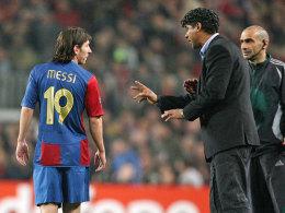 Lionel Messi mit Frank Rijkaard im Februar 2007