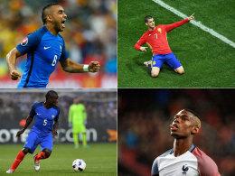 Könnten im kommenden Jahr königliches Weiß tragen: Dimitri Payet, Alvaro Morata, Paul Pogba und N'golo Kanté (von links oben im Uhrzeigersinn).