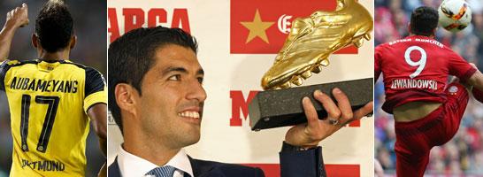 Der Titelträger Luis Suarez (Mi.) und zwei potenzielle Herausforderer Aubameyang und Lewandowski.