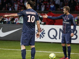 """Im Blickpunkt beim knappen Heimsieg über Nancy: Zlatan Ibrahimovic und """"Edeljoker"""" David Beckham (re.)."""