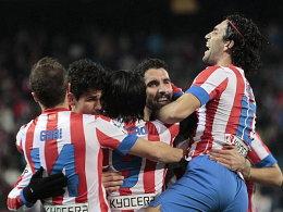 Atletico Madrid bejubelt den frühen Treffer von Falcao.