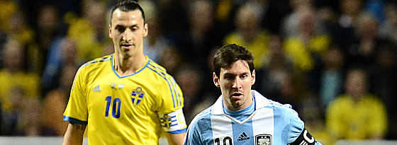 Zlatan Ibrahimovic und Lionel Messi