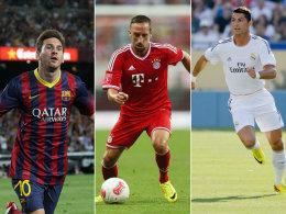 Lionel Messi, Franck Ribery und Cristiano Ronaldo