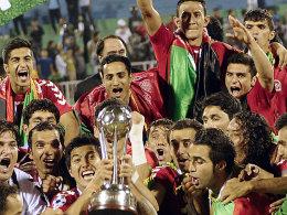 Grenzenloser Jubel: Die afghanischen Spieler feiern ihren ersten internationalen Titel.