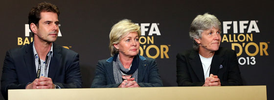 Ralf Kellermann, Silvia Neid und Pia Sundhage (v. li.)