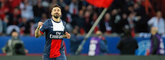 PSG-Stürmer Lavezzi jubelt über das Führungstor gegen Rennes.