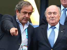 Top-Funktion�re: UEFA-Boss Michel Platini und FIFA-Chef Sepp Blatter.