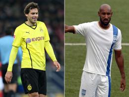 Manuel Friedrich (li., hier noch im BVB-Trikot) und Nicolas Anelka gehen für Mumbai City an den Start.