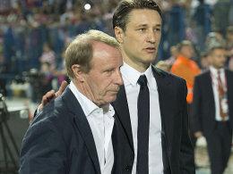Letzter Auftritt: Berti Vogts mit Kroatiens Nationaltrainer Niko Kovac (li.).