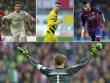 Manuel Neuer (unten), Cristiano Ronaldo, Marco Reus und Neymar (v.l.) - vier der 40 Kandidaten f�r das UEFA-Team des Jahres.