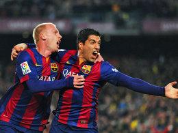 Besorgten die beiden Treffer für Barça: Innenverteidiger Mathieu (li.) und Angreifer Suarez.