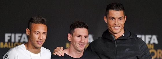 Hatten am Nachmittag vor der Bekanntgabe beste Laune: Neymar, Lionel Messi und Cristiano Ronaldo (v.l.).