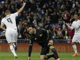 Applaus von CR7 für den Rückkehrer: Karim Benzema traf früh für Real.