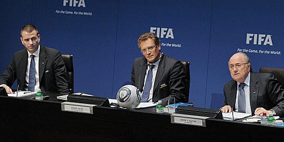 Markus Kattner, Jerome Valcke und Joseph Blatter