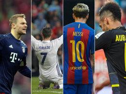 Manuel Neuer, Cristiano Ronaldo, Lionel Messi, Pierre-Emerick Aubameyang (v.li.)