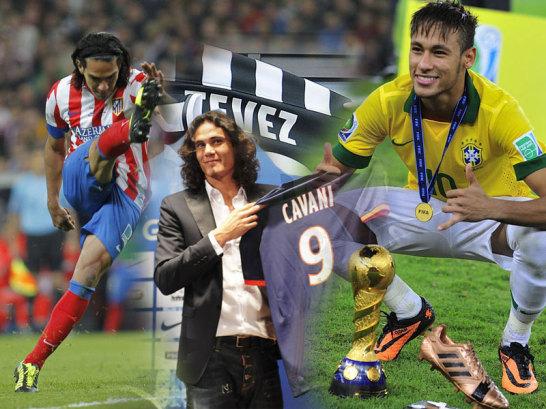 Falcao, Cavani und Neymar (v.li.)